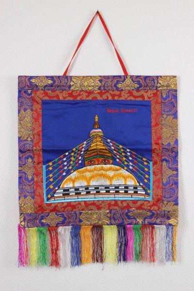 Nepal Thangka mit Stupa - Wandbild - handgestickt