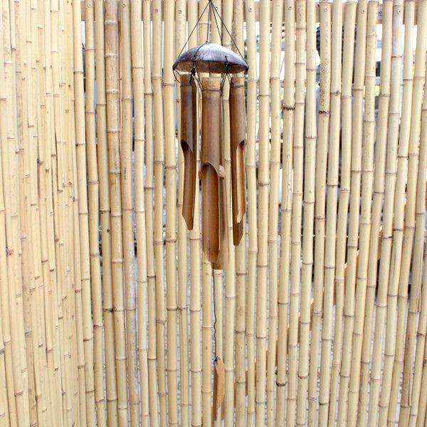 Bambus Windspiel mit Kokosschale (80cm) Garten Holz Klangspiel