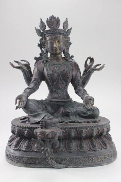 Grüne Tara Bronze Figur - Unikat