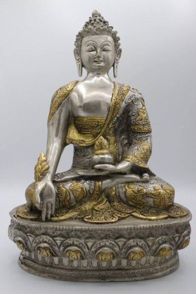 Medizin Buddha Figur aus Bronze, Nepal