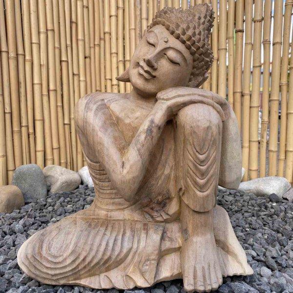 Ruhende Buddha Figur aus Holz 41cm groß