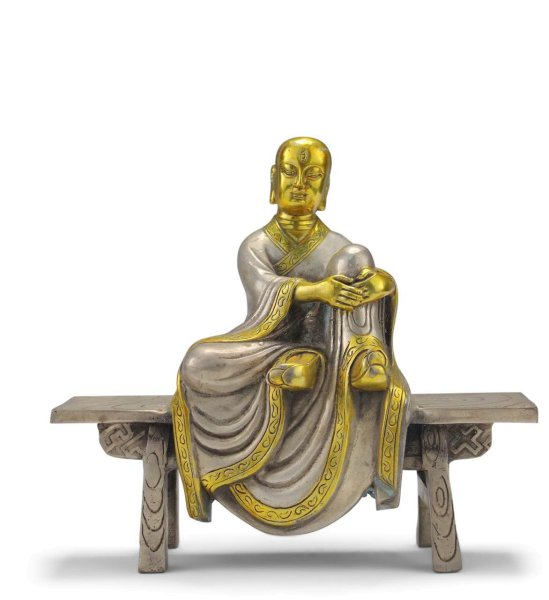 Sitzender Mönch Xuanzang aus Bronze