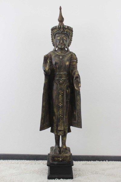 Mandalay Buddha Statue aus Holz, 162cm
