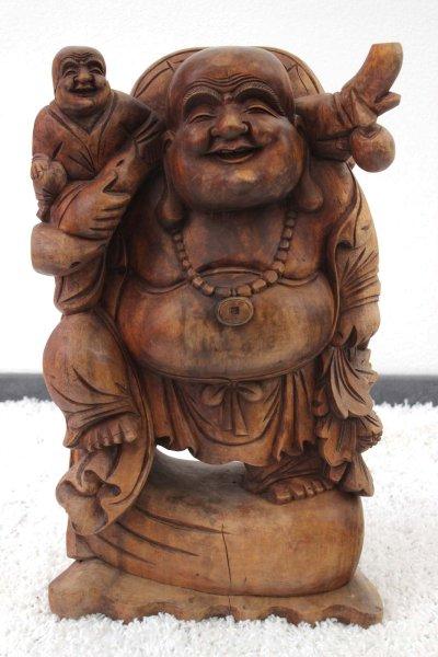 Reichtums-Buddha Figur (62cm) Hotai Holz Statue