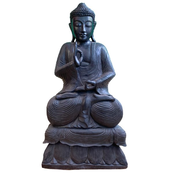 Lehrende Holz Buddha Figur (80cm) Vitarka Mudra