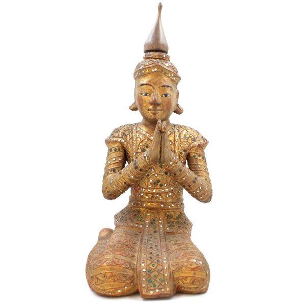 Namaskar Mudra Tempelwächter (48cm) Kniende Burma Figur