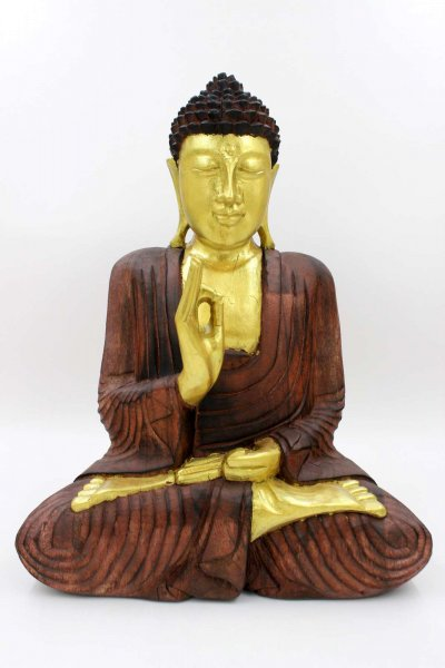 41 cm große Holz Buddha Figur mit Vitarka Mudra