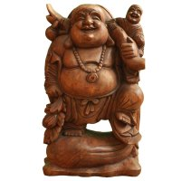 Happy Buddha Figur Holz (61cm) Glücksbuddha