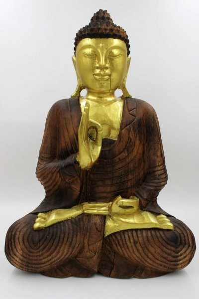 51,5 cm große Holz Buddha Figur mit Vitarka Mudra