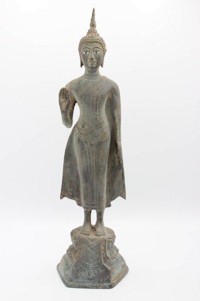 Buddha Figur mit Geste der Furchtlosigkeit, Bronze