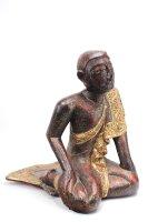 Sariputta Mönch Figur Holz (51cm) Burma Skulptur