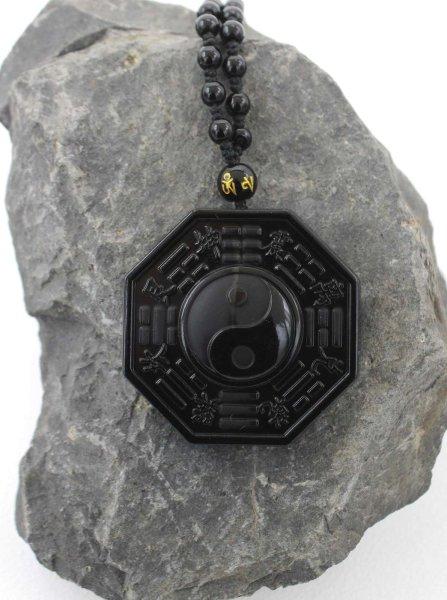 Chinesischer Yin Yang Anhänger - Schwarze Obsidian Halskette