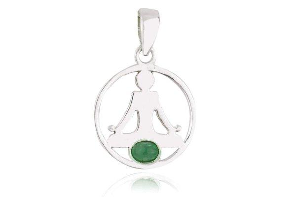 925er Yoga Buddha Anhänger mit Smaragd