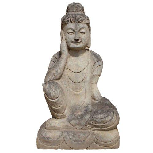 Ruhender Guanyin Buddha (71cm) Garten Naturstein Statue