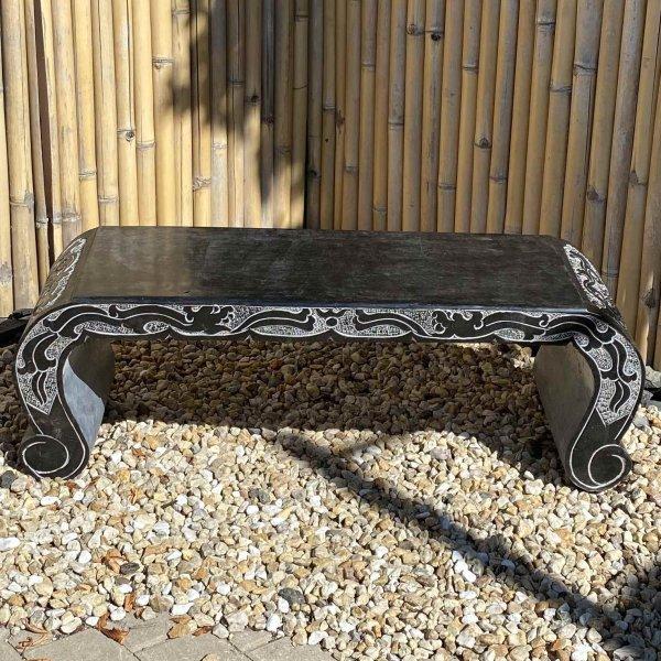 Asiatische Gartenbank mit Drachen verziert - Naturstein