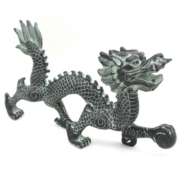 Asiatisches Drachen Krafttier (26cm) Fabelwesen Zink Figur