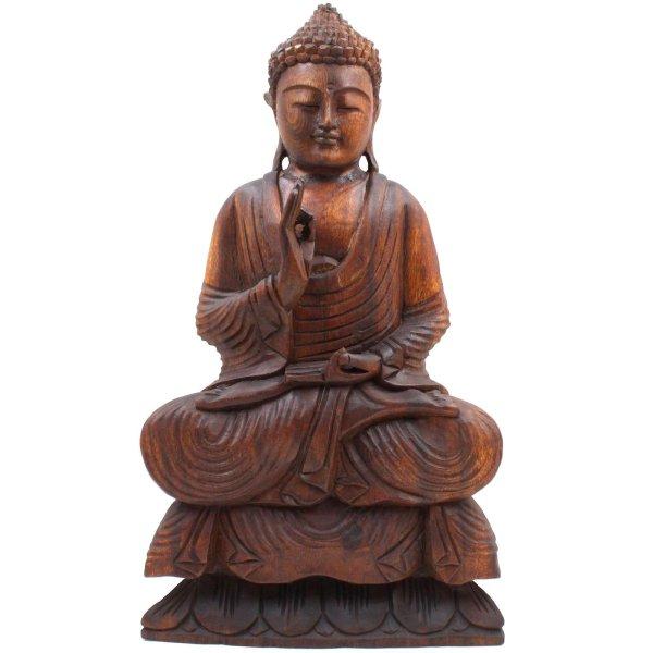 Lehrende Buddha Figur (50cm) Vitarka Mudra Holz Statue