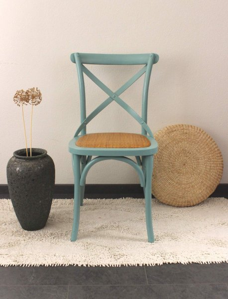 Mintgrüner China Stuhl aus Ulmen Holz