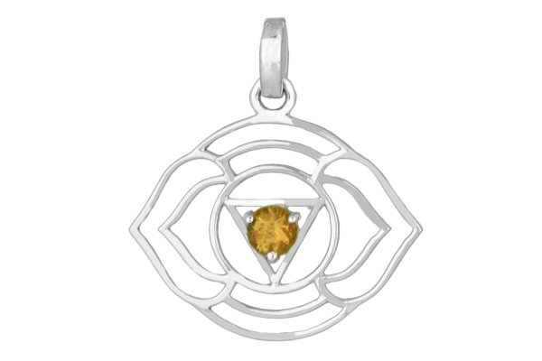 Ajna Chakra Symbol Anhänger mit Citrin