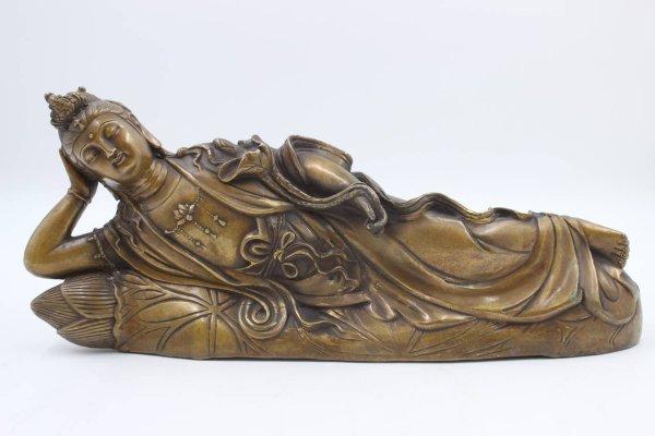 Liegende Kwan-Yin Buddha Figur, Bronze