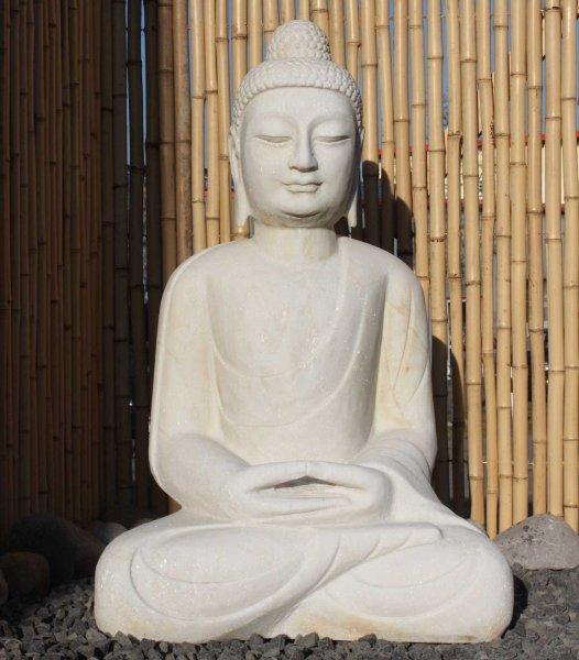 Garten Buddha Statue aus Marmor Stein - 82cm groß