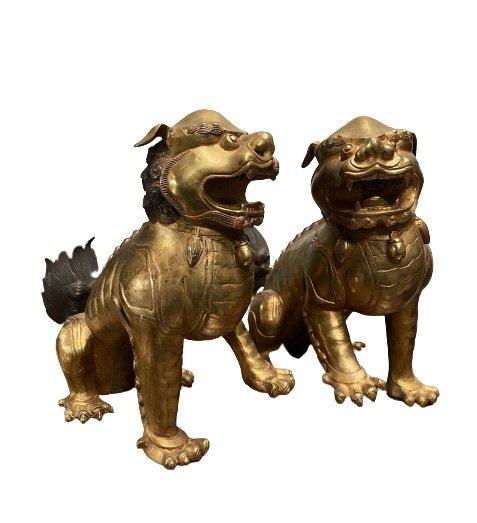 Chinesische Tempellöwen aus Bronze - Lackvergoldung