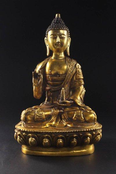 Buddha Figur mit Shuni Mudra - Bronze