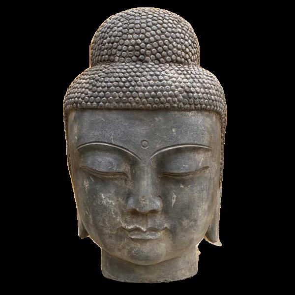Siddharta Buddha Kopf (75cm) Naturstein Garten Statue