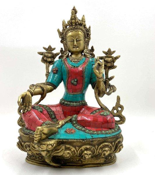 Grüne Tara Buddha Figur Nepal (31,5cm) Türkis- & Korallsteine