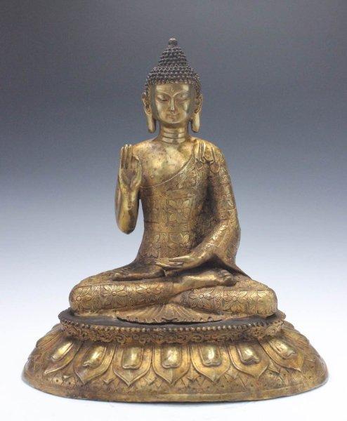 Buddha Figur mit Teaching-Geste, Bronze