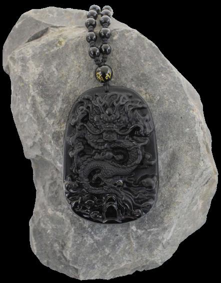 Drachen Halskette - Schwarzer Obsidian Heilstein + Schmuckbeutel