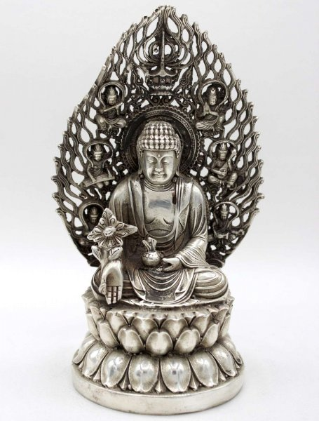 Medizin Buddha Figur (20cm) Tibet Silber