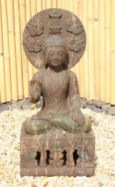 Garten Buddha Statue mit Relief - 80cm groß