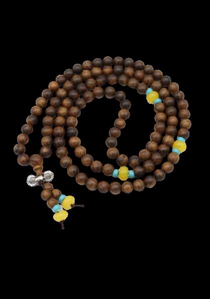 Buddhismus Meditationskette aus Rosenholz - Mala