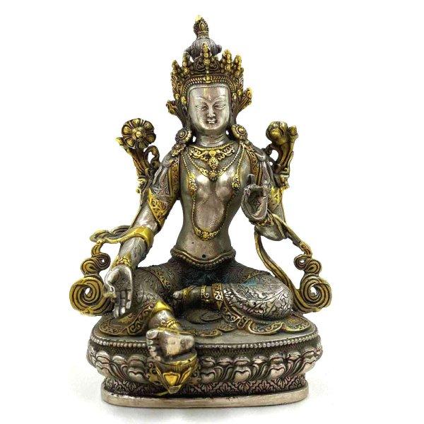 Grüne Tara Buddha Tibetsilber (21,5cm) Bronze Figur