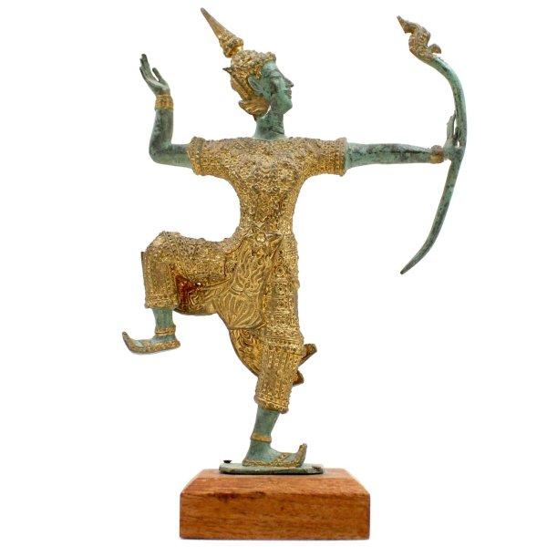 Arjuna Bogenschütze Figur (26cm) Bronze Krieger Tempelwächter