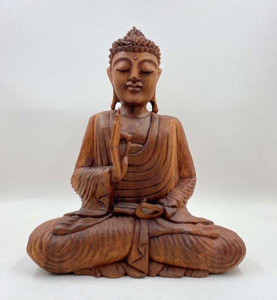 Lehrende Buddha Figur (40cm) Vitarka Mudra Holz Statue