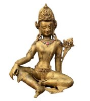 Indra Figur Bronze Nepal Rubin Steine