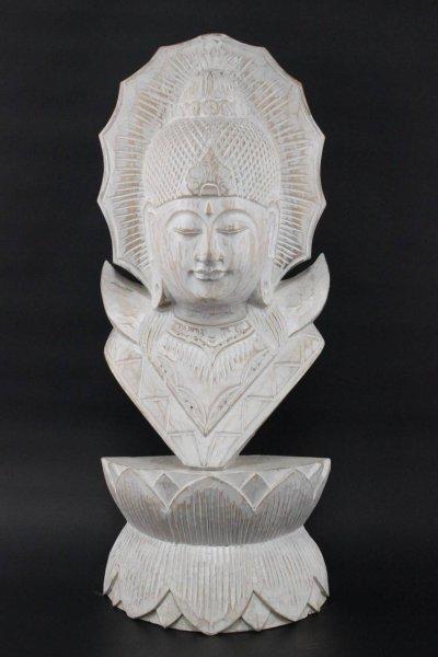 Buddha Büste in Weiß aus Holz