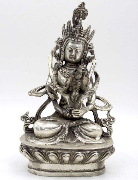 Yab Yum Buddha Figur (17cm) Tantrische Bronze Statue