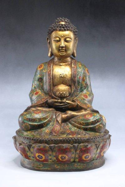 Cloisonne Amitabha Buddha Figur aus Bronze