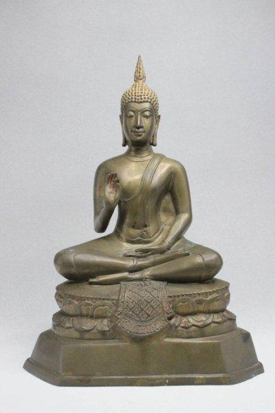 Thai Buddha Bronze Figur mit lehrender Geste