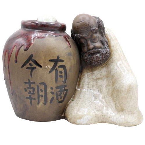 Arhat / Lohan mit Weinfass - Porzellan Keramik - handmade