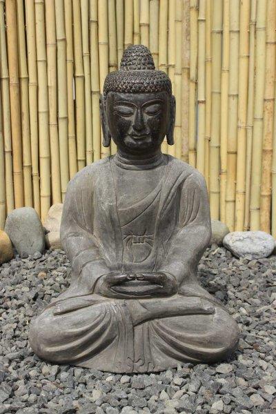 Amitabha Buddha Statue aus Naturstein - Gartenfigur