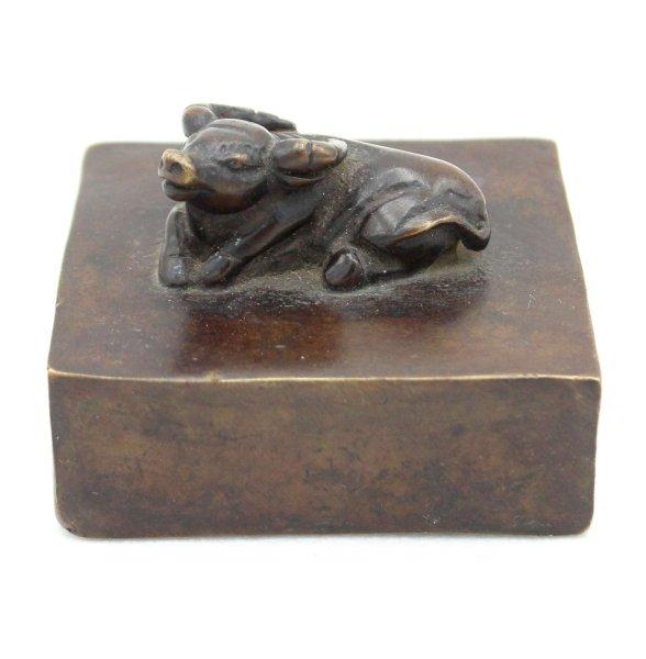 Wasserbüffel China Siegel Stempel aus Bronze