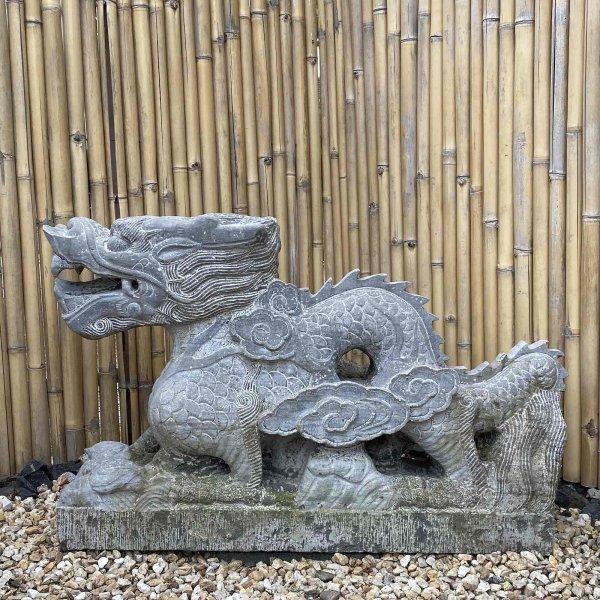Gigantischer Garten Drache (130cm) Naturstein Skulptur - China