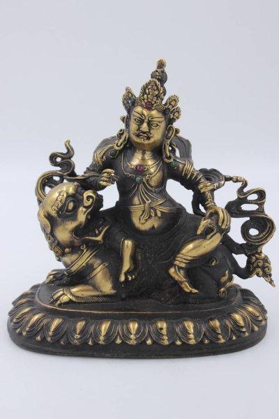 Buddha Figur Kubera/Jambhala aus Bronze