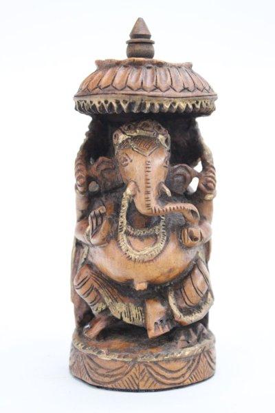Ganesha Figur aus Mango Holz - 14,5cm