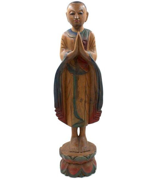 Teak Holz Mönch Figur (59cm) Namaskar Mudra