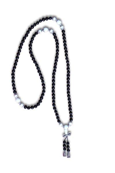 Buddhistische Halskette Mala, schwarzer Achat mit Dorje
